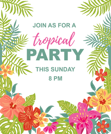 Bright jungle flowers and palm leaves. Tropical party vector illustration. Place for your text. Seasonal template for vacation, poster, banner, flyer, invitation. Flat and line style.