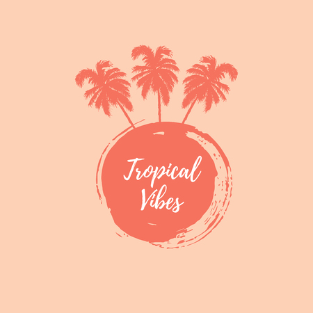 Hand drawn paint stain and palm trees vector illustration isolated on background. Tropical vibes. Place for your text. Design element for t-shirt design, poster, party invitation, natural concept.  イラスト・ベクター素材