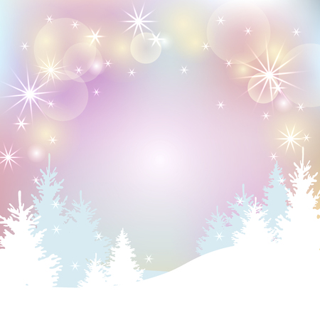 Winter Christmas background with new year trees and glowing lights. Winter landscape for your text. Vector illustration for Christmas and New Year holiday, party invitation, greeting card, poster, web