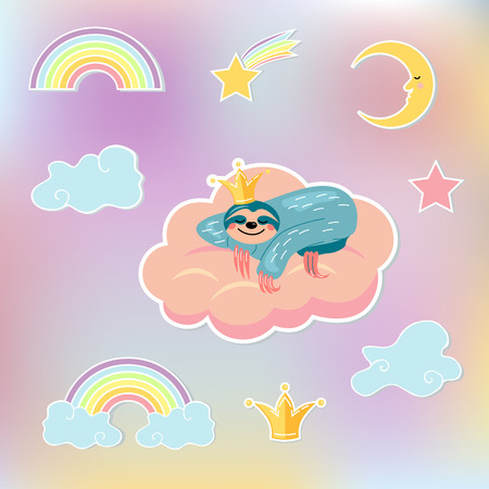 Set with sloth bear sleeping in pink cloud, crown, clouds, moon, star and rainbow. Flat and line style vector illustration. Design element for baby shower, patch, party props isolated on background