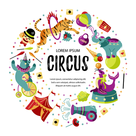 Circus. Vector illustration with animals, clowns and magicians. Template for circus show, party invitation, poster, flayer, kids birthday. Flat style