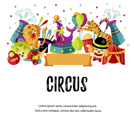 Circus. Vector illustration with animals, clowns and magicians. Template for circus show, party invitation, poster, kids birthday. Flat style. 向量圖像