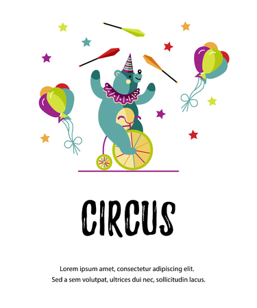 Cute bear on bicycle is juggling. Vector illustration. Template for circus show, party invitation, poster, kids birthday. Flat style.