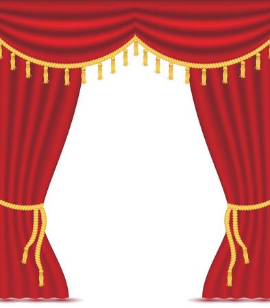 Tende rosse con drappeggi, illustrazione vettoriale isolato su sfondo bianco. Posto per il testo. elemento di design per teatro, spettacolo, cinema, banner.
