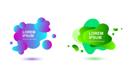 Gradient abstract background set with flowing liquid shapes. Place for text. Graphic elements for flyer, logo, invitation, web, presentation, banner, poster. Vector illustration on white background.