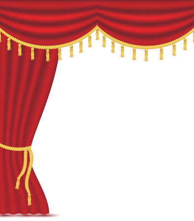 Red curtains with drapery, vector illustration isolated on white background. Place for text. Design element for theather, show, cinema, banner.