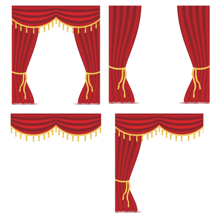 Red curtains with drapery isolated on white background. Vector illustration set. Place for text. Design elements for theather, show, cinema, banner. Ilustrace