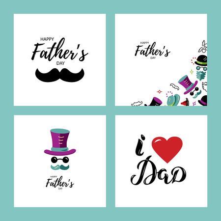 Happy Father's day greeting card set. I love Dad hand drawn lettering. Man face with hat, glasses and mustache. Flat style vector illustration.