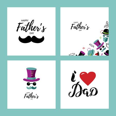 Jeu de cartes de voeux de bonne fête des pères. J'aime le lettrage dessiné à la main de papa. Visage d'homme avec chapeau, lunettes et moustache. Illustration vectorielle de style plat.