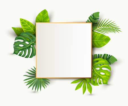 Green summer tropical background with exotic leaves, paper sheet wuth golden frame. Place for text. Vector illustration for poster, web, flyers, party invitation, sale, ecological concept, wedding.