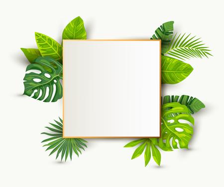 Sfondo tropicale estivo verde con foglie esotiche, foglio di carta con cornice dorata. Posto per il testo. Illustrazione vettoriale per poster, web, volantini, invito a una festa, vendita, concetto ecologico, matrimonio.