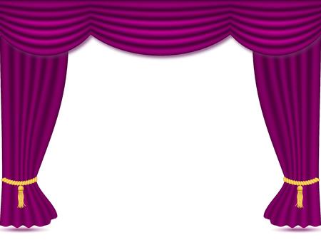 Cortinas púrpuras con cortinas, ilustración de vectores aislado sobre fondo blanco. Lugar para el texto. elemento de diseño para teatro, espectáculo, cine, banner.