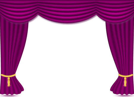 Purple curtains with drapery, vector illustration isolated on white background. Place for text. design element for theather, show, cinema, banner.