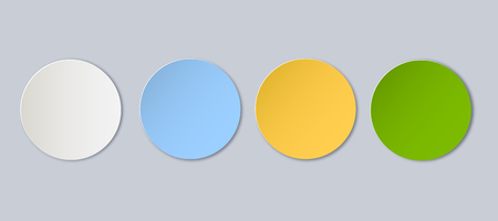 Vector blank button set. Vector elements for your design. Paper art round frame with shadow isolated on background.
