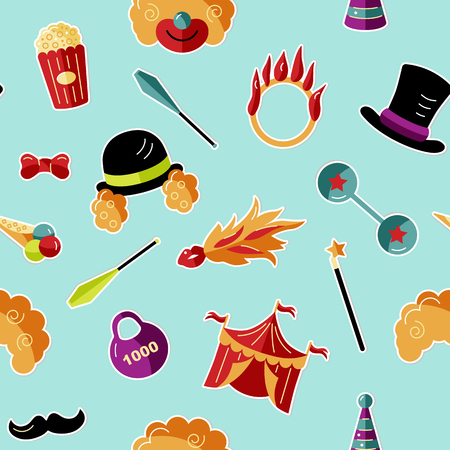Seamless pattern with celebratory objects, party props. Circus concept. Flat style vector illustration.