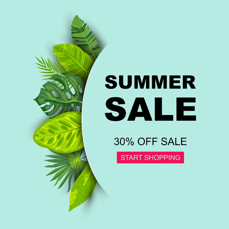 Summer sale banner with tropical leaves. Place for text. Template for poster, web, invitation, flyer. Vector illustration