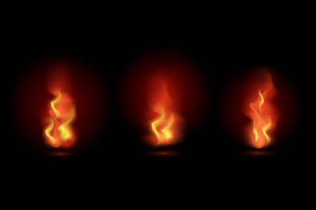 Fire flames isolated on black background. Vector illustration set.