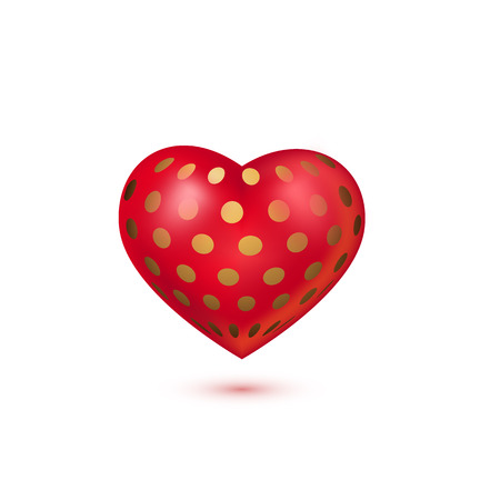 Red 3d heart with golden dots isolated on white background. Vector illustration for banner, lettering, invitation, poster, web. St. Valentine's day concept.