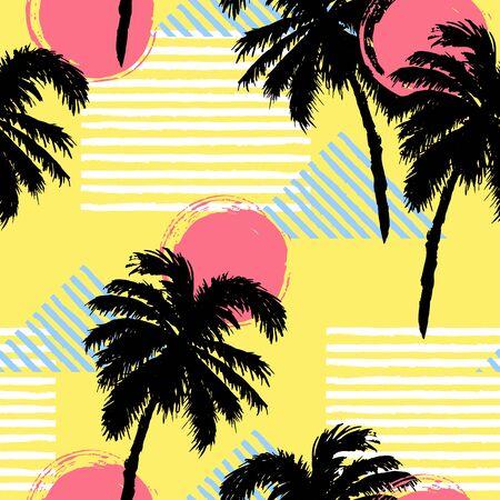Seamless pattern with palm trees, sun. Vector illustration Illustration