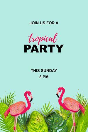 Fenicottero rosa e foglie di palma esotiche. Illustrazione vettoriale di festa tropicale. Posto per il testo. Modello stagionale per vacanze, poster, banner, volantini, inviti, feste in piscina.