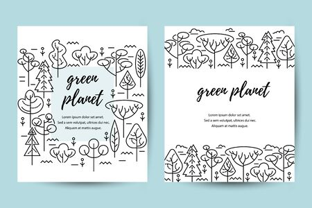 Vector illustration with trees. Place for text. Ecological concept. Template for flyer, poster, invitation, web, announcement. Thin line style design Иллюстрация