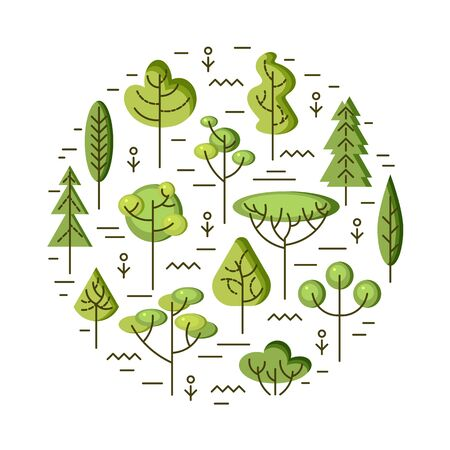 Vector illustration with trees isolated on white background. Ecological concept. Design element for flyer, poster, invitation, Earth day. Flat and line style design. Circle concept.