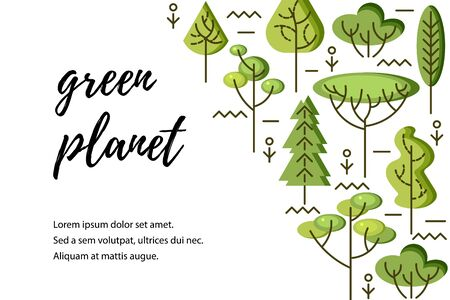 Vector illustration with trees. Place for text. Ecological concept. Template for flyer, poster, invitation, web, announcement. Flat and line style design.