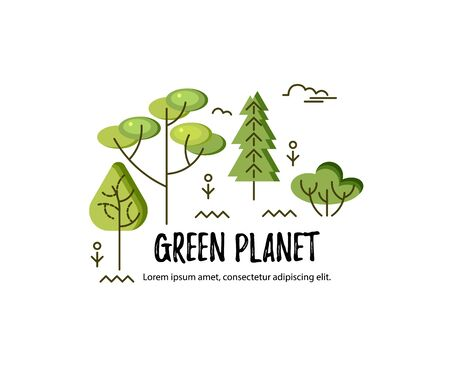 Vector illustration with trees. Place for text. Ecological concept. Template for flyer, poster, invitation, web, announcement, headline. Flat and line style design Иллюстрация