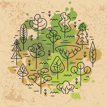 Illustration vectorielle avec des arbres isolés sur fond blanc. Notion écologique. Élément de design pour flyer, affiche, invitation, jour de la Terre. Conception de style plat et ligne. Notion de cercle.
