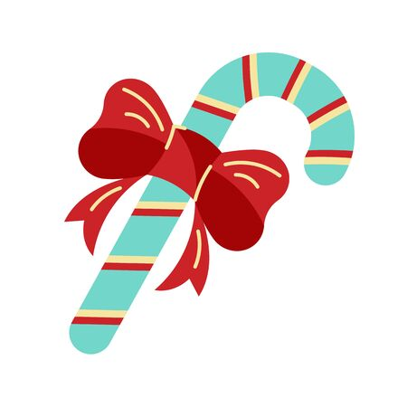 Candy cane as Christmas icon. Vector illustration isolated on white background. Flat and line style design.