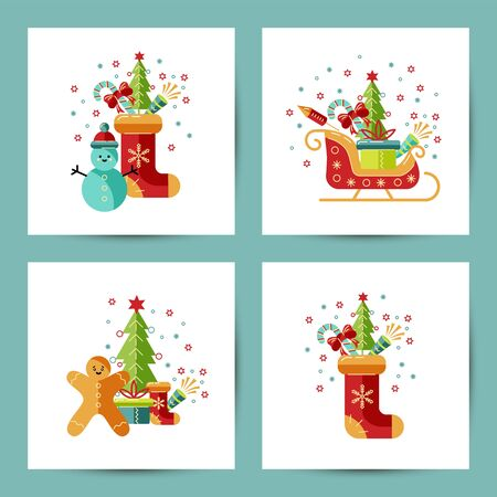Merry Christmas and Happy New Year cards vector illustration set. Design element isolated on white background. Great for flyer, decoration, postcard, banner, poster. Flat and line style design.