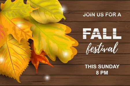 Fall festival. Autumn background with falling leaves on dark wooden background. Place for text. Great for party invitation, seasonal sale, wedding, web, autumn festival, poster.