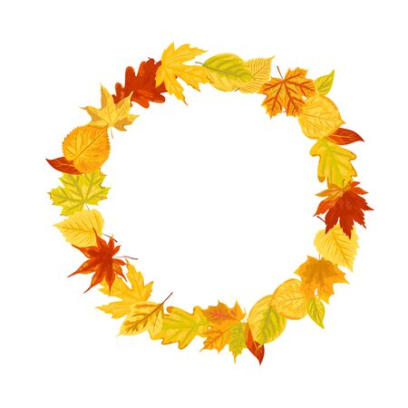 Wreath with autumn falling leaves illustration isolated on white background. Design element for poster, web, flyers, invitation, postcard, Happy Thanksgiving day. Place for text. Flat style. Vettoriali