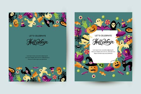 Halloween card set with celebratory subjects. Handwriting lettering Halloween. Place for text. Flat style illustration. Great for party invitation, flyer, greeting card. Ilustração