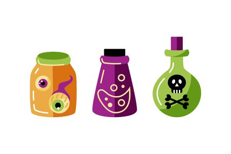 Bottles set with death mark, poison, eyes.