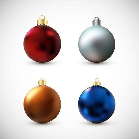 New year balls set illustration. Design element isolated on white background.