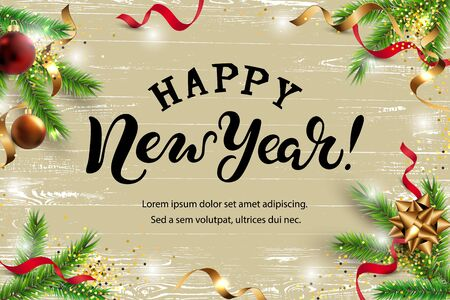 Happy New Year, Merry Christmas card with christmas tree branches, red and golden balls. Hand drawn lettering Happy New Year. Place for text. Illusztráció