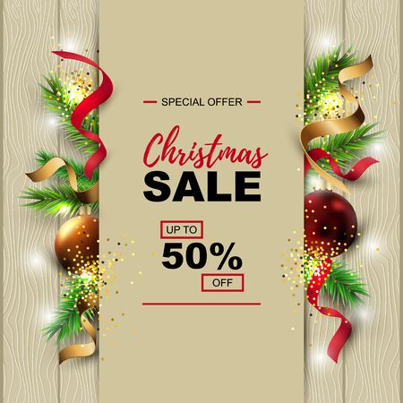 Christmas sale banner with fir-tree, red and gold balls on wood background with paper sheet. Place for text. Great for christmas fair, poster, invitation, flyer, greeting card.