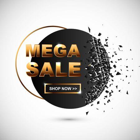 Mega Sale banner with debris. Great for flyer, poster, web, banner, seasonal sales.