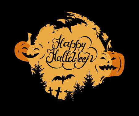 Happy Halloween hand drawn lettering with moon, bats and pumpkins.