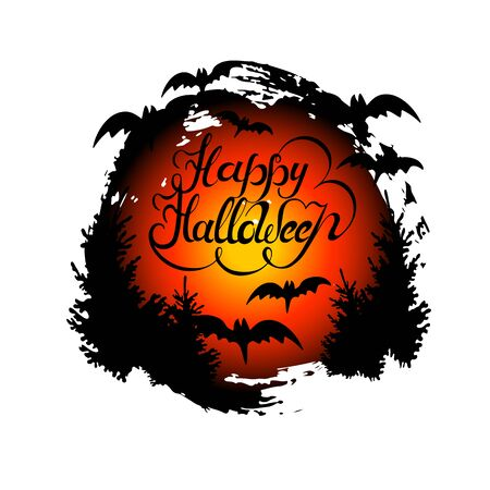 Happy Halloween hand drawn lettering with red moon and bats.