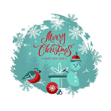Merry Christmas and Happy New Year card with snowman, ball, gift box and bullfinch bird. Hand drawn lettering Merry Christmas. Design element on white background.