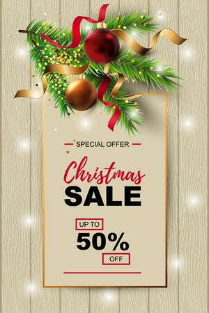 Christmas sale banner with fir-tree, red and gold balls on wood background with paper sheet.