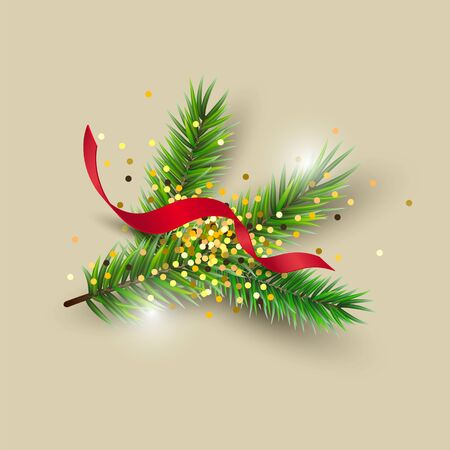 Christmas tree branch with golden confetti and streamer isolated on background. Design element for Merry Christmas and New Year greeting cards, flyer, poster, party invites. Vector illustration.
