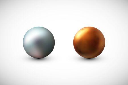 Pearls vector illustration set. Design element isolated on white background. 일러스트