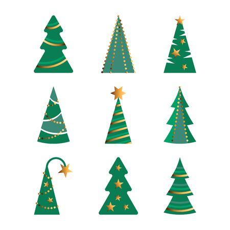 Christmas trees vector illustration set on white background. Flat style design. Illusztráció