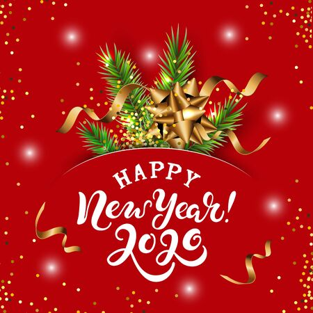 Happy New Year 2020 card with christmas tree branch. Hand drawn lettering Happy New Year 2020. Place for text. Vector illustration. Great for sale, greetings, invites, Merry Christmas card.
