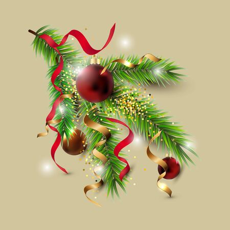 Christmas tree branch with red and golden balls, confetti isolated on background. Design element for Merry Christmas and New Year greeting card, flyer, poster, party invites. Vector illustration.