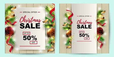 Christmas sale banner set with fir-tree, red and gold balls on wood background with paper sheet. Place for text. Great for christmas fair, poster, invitation, flyer, greeting card. Vector illustration