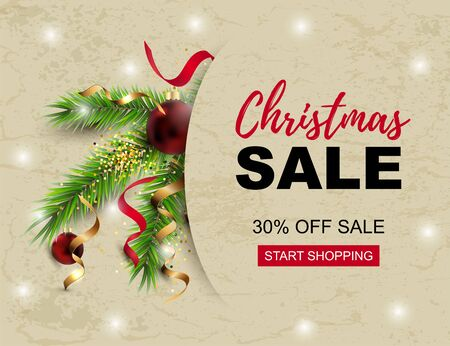 Christmas sale banner with fir-tree, red balls, golden confetti. Place for text. Great for christmas fair, poster, invitation, flyer, greetings, Happy New Year card. Vector illustration.